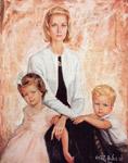 Princess Grace with young Princess Caroline and Prince Albert