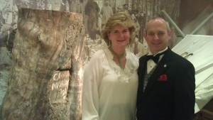 Nancy Roe and Consul Jonathan Warren at the Camp Monaco exhibit at the BBHC